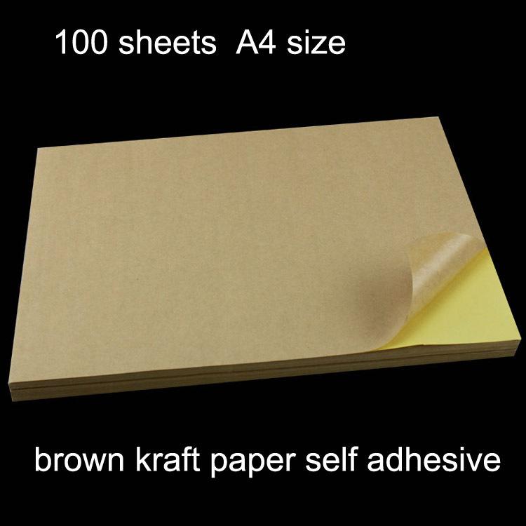100 sheets/pack A4 self adhesive brown kraft printing copy sticker label Paper For Laser Inkjet Printer(China (Mainland))