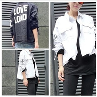 2014 spring turn-down collar loose long-sleeve HARAJUKU denim shirt short jacket female shirt