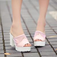 Summer platform thick heel open toe sandals female platform high-heeled slippers gauze shoes  -07