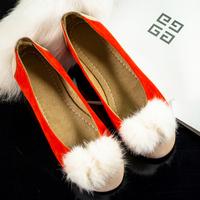 2014 winter single shoes round toe flat female work shoes flat heel color block decoration plush female work shoes  -07