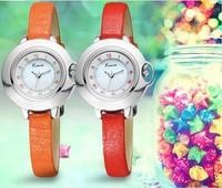 New Style Women Original Brand Quartz Wrist watch Elegant Lady Dress Watch Leather Strap Korean Gold Plated Clock Reloj KM014