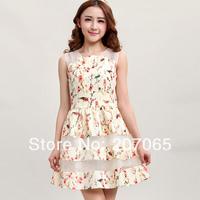 Free shipping Summer Women Floral Organza Bottom Vest dress  2 color size S,M,L,XL