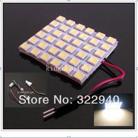 Free shipping T10 BA9S Festoon 3 Adapters 36 SMD 5050 white Light 12V LED reading Panel Car interior Dome light