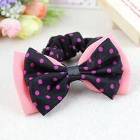Free Shipping 5 PCS Chiffon Polka Dots Double Layer Bowknots Hair Bands Elastic Ties Ponytail Holder
