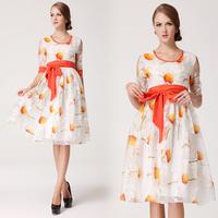 New Europe style fashion half sleeve round collar white plain orange sunflowers dress S/M/L