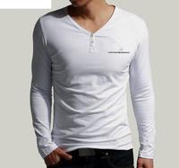 Free shipping 2014 Fall new fashion men's long sleeve casual Splicing t-shirt