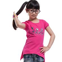 girls t shirt short sleeve kids t-shirt girl t-shirt short sleeve kids print tee irregular hem 100% cotton brand kids t shirt(China (Mainland))