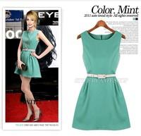 New Fashion Summer Simple European style Light Green Dark blue sleeveless dress ( with belt )