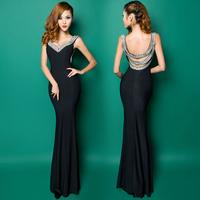 Sexy deep V-neck fish tail racerback formal dress long design slim cutout evening dress fashion evening dress fashion formal