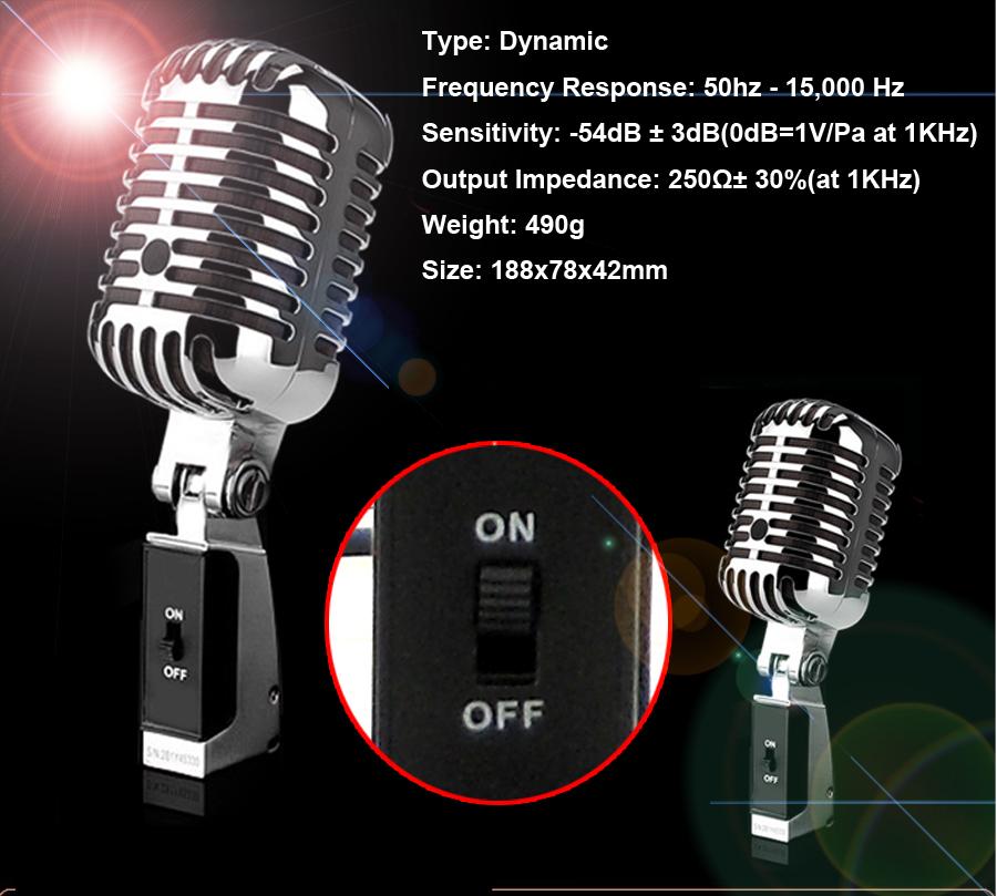 Professional 55 Wired Dynamic Vintage Microphone For KTV DJ Karaoke Computer Studio Recording Stage Performance Retro