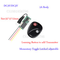 Mini  Remote Control Switch System Micro DC3V-5V Relay Receiver Transmitter Momentary Toggle Latched Learn 315/433MHZ 50Pcs/Lot