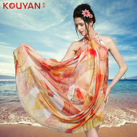 Spring and autumn silk scarf mulberry silk scarf long design female chiffon scarf cape dual  Free shipping