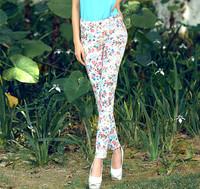 New 2014 women pants woman clothes summer Fresh wild floral print pantyhose Fashion women's casual pants Free shipping