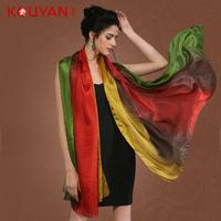2014 spring silk scarf mulberry silk silk scarf long design women's gradient cape  Free shipping