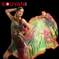 New arrival 2014 women's silk scarf silk scarf mulberry silk print silk scarf cape  Free shipping