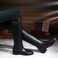 Classic vintage 2013 female genuine leather flat heel side zipper flat boots flat high-leg long boots 40