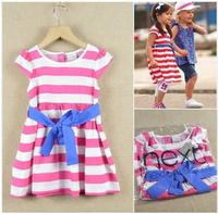 YNew 2014 Summer Brand Baby Girls Striped Dresses Pink Next Dress Children's Clothing Lot