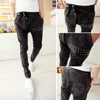 Free shipping! Pop! 2014 new denim harem pants large files nightclub personality rivets
