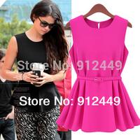 Free Shipping! Fashion Woman Chiffon Shirts Blouse OL Lady Round Collar Sleeveless Women's Top  FREE BELT