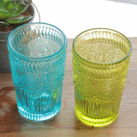Zakka fashion embossed millenum stencilling multicolour transparent glass whisky glass juice cup