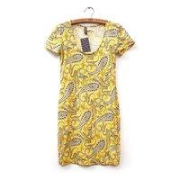 2014 New European Spring/Summer low O collar short sleeve sexy cashew print dress,WD0103