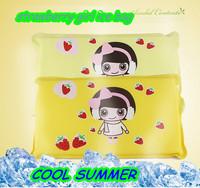 2014 NEW fashion Cartoon strawberry girl Sponge ice pillow  ice pad yellow / blue 40*22cm 122g make you feel cool free shipping