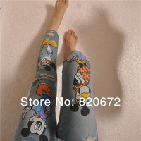 Influx of new women's pants feet cartoon printed Mickey BF loose baggy jeans pants child collapse