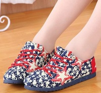 Free shipping 2014 women canvas shoes Summer new fashion trends portable graffiti candy color and women driving shoes