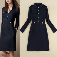 Spring European and American Style Turn down Collar Single Breasted Long Sleeve Formal Dress Woman Fashion Brand Slim Knit Dress