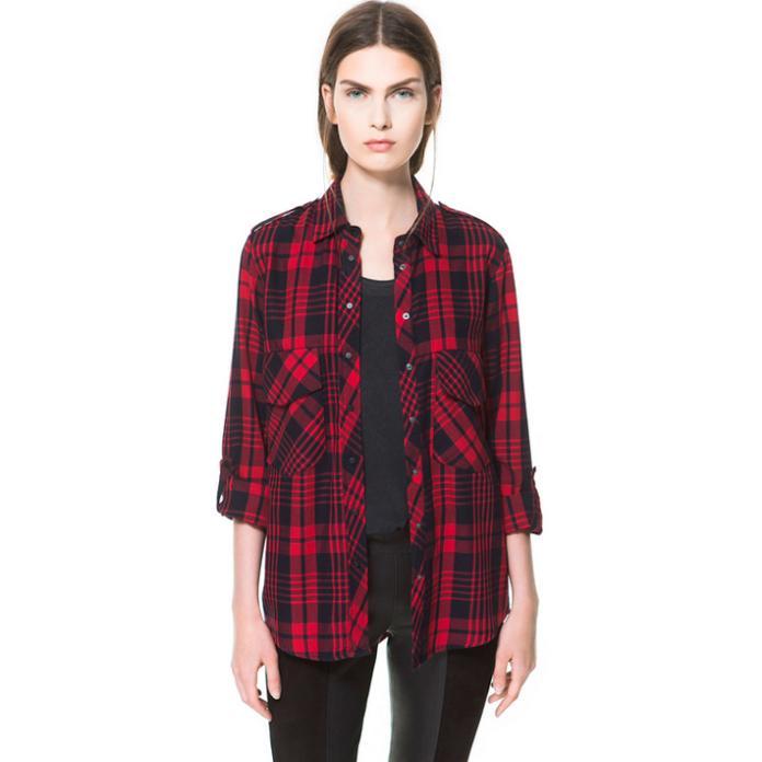 online kaufen gro handel red plaid blouse aus china red. Black Bedroom Furniture Sets. Home Design Ideas