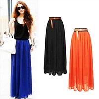 Free Shipping 2014 new wholesale retro black elastic waist chiffon long skirt fashion Women's skirts 20 colour free shipping