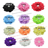 30pcs/lot Newborn Chic Shabby Fabric Beaded Flower For Headbands,Rhinestone flower For Wedding/Kids Accessories