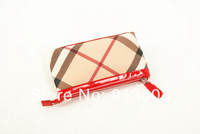 MG916 B HAYMARKET CHECK genuine leather 100% clutch storage bag  wholesale drop shipping free shipping