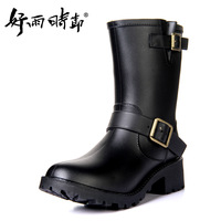 Cool knee-high motorcycle hasp rainboots women's rain boots motorcycle boots