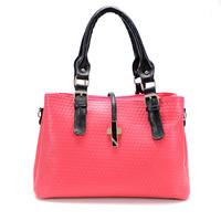 Free shipping,2014 fashionable casual color block motorcycle casual handbag rivet messenger bag one shoulder cross-body handbag