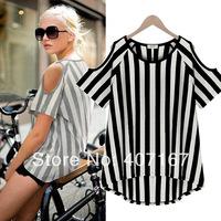 2014 summer o-neck 100% cotton strapless vertical stripe short-sleeve T-shirt female loose plus size basic shirt
