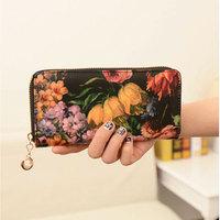 Women Handbag Oil Painting Purse Flower Vintage Chain Envelope Zipper Bag Wallets #53580