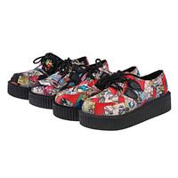Spring front strap colorful single doodle shoes flat heel shallow mouth comfortable platform women's platform shoes