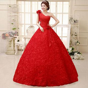2014 Новый 100% Фактические изображения длиной до пола Кристалл спинки Кружева цветов принцессы Красный свадебное платье свадебное платье Бесплатная доставка WD020