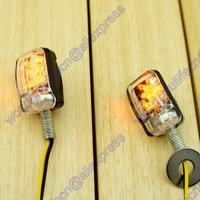 4 Pieces Motorcycle Stalk Turn Signal Light Indicator Blinker Mini 6 LED Amber Black Free shipping