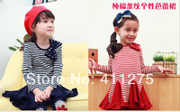 retail children dress kids girls princess Spring autumn stripped clothing  bow dresses