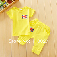 2014 New baby clothes sets cotton flag clothing set 4 colors t shirt + pants 5pcs/lot kids suits summer set short sleeve cute