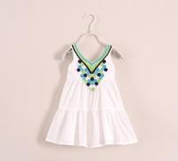 Brand new girl dress baby girls sleevless princess beach dress girl dresses with beautiful flower embroidery
