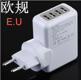 Wholesale EU Plug 4 Port HUB USB EU Plug Home Travel Wall AC Power Charger Adapter for iphone iPad galaxy OTG Free Shipping(China (Mainland))