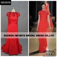 2014 Hot Sale INFINITE100% real sample Short Sleeve Red Elie Saab  evening dress dresses for sale