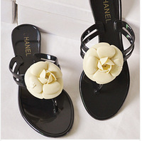 2014 Summer New Camellia Slippers Women Crystal Flower Flip-Flops Sandals Flat Jelly Shoes Sandals#00021