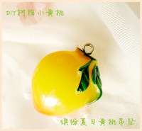 Resin Yellow Peach Free shipping  Resin  Fruit  Pendant for Mobilephone Decoration/DIY Jewelry  by 30pcs/lot