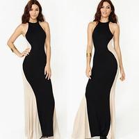 2014 New Fashion Off the Shoulder Sleeveless Mermaid Floor-Length Women Evening Prom Work Maxi Long Vest Halter Slim Sexy Dress