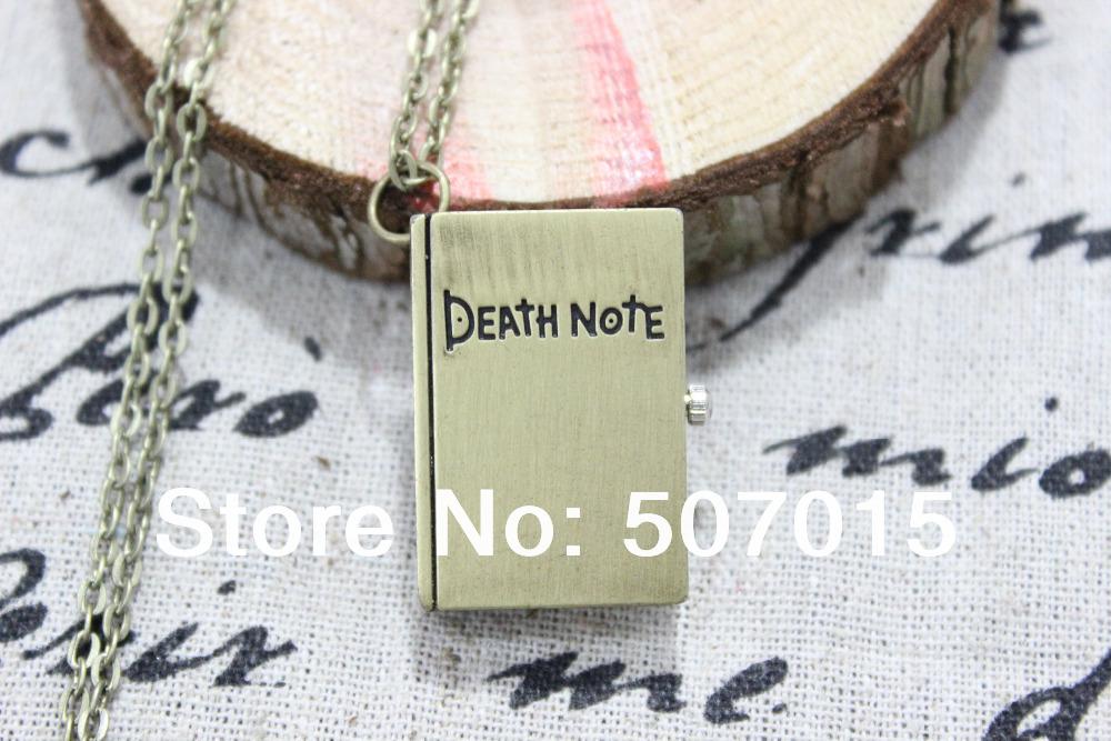 Bronze Death Note Pocket Watch locket Cuboid Necklace Pendants(China (Mainland))