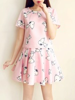 free shipping 2014 summer spring and autumn fashion twinset cartoon SNOOPY print set one-piece dress